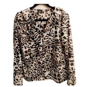 Sioni Cheetah Print Ruffle Blouse sz.L